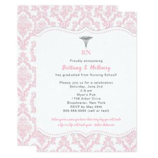 RN Pink Damask Nursing school graduation party Card