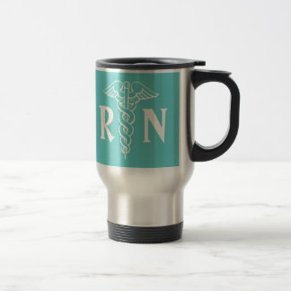 RN Registered Nurse travel mug with caduceus