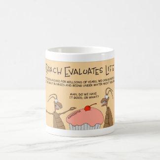 Roach evaluates life coffee mug