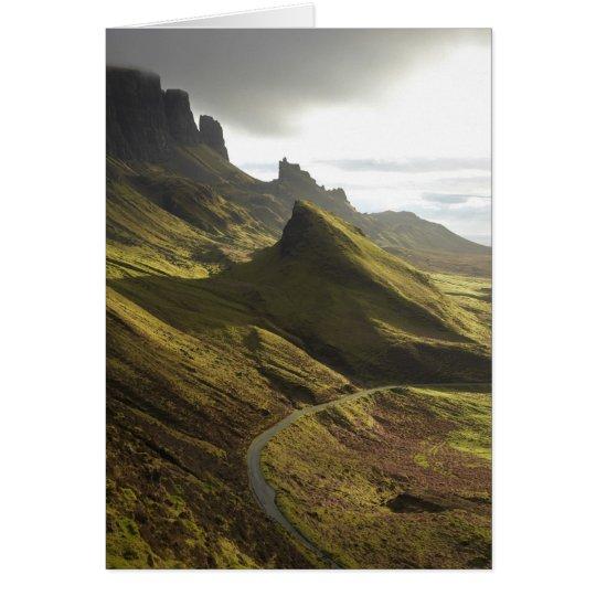 Road ascending The Quiraing, Isle of Skye, Card