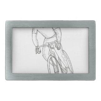 Road Bicycle Racing Doodle Belt Buckle