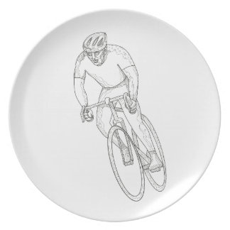 Road Bicycle Racing Doodle Plate