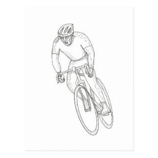 Road Bicycle Racing Doodle Postcard