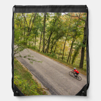 Road Cycling On Rural Country Road Drawstring Bags