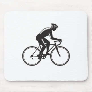 Road Cyclist Racing Woodcut Mouse Pad