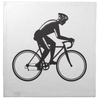 Road Cyclist Racing Woodcut Napkin