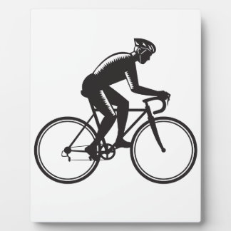 Road Cyclist Racing Woodcut Plaque