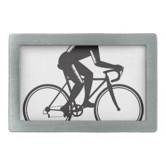Road Cyclist Racing Woodcut Rectangular Belt Buckles