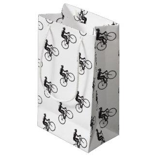 Road Cyclist Racing Woodcut Small Gift Bag