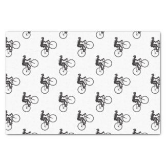 Road Cyclist Racing Woodcut Tissue Paper