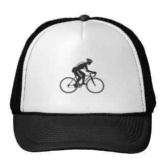 Road Cyclist Racing Woodcut Trucker Hat