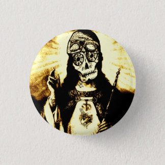 Road God Skull 1 Inch Round Button