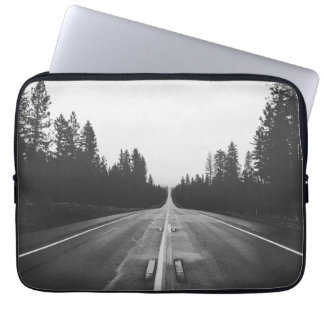 Road in black and white laptop sleeve