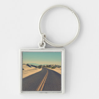 Road in the desert Silver-Colored square keychain