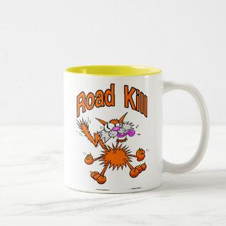 Road Kill Cat Two-Tone Coffee Mug