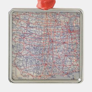 Road map United States Silver-Colored Square Ornament
