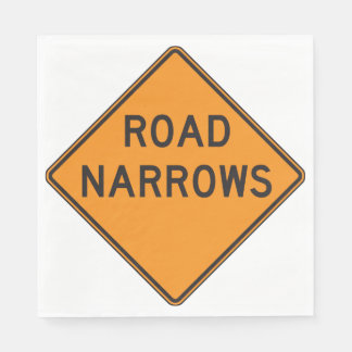 Road Narrows Road Sign Paper Napkins