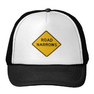 Road Narrows, Traffic Warning Sign, USA Mesh Hat