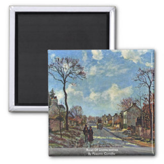 Road Of Louveciennes By Pissarro Camille Square Magnet