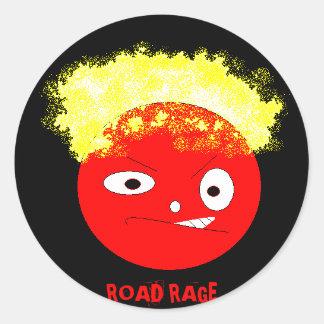road rage classic round sticker