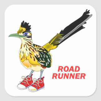 Road Runner in Red Sneakers Square Sticker