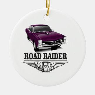 road runner purple round ceramic ornament