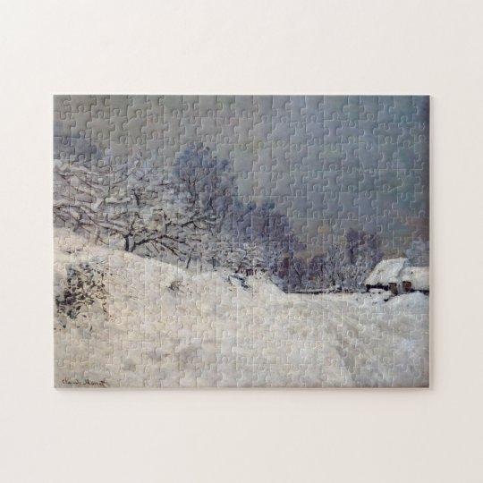 Road Saint-Siméon Farm Winter Monet Fine Art Jigsaw Puzzle