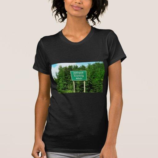 Road Sign, Judique, Cape Breton Tee Shirts