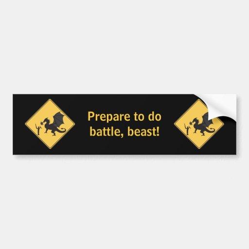 Road Sign- Knight & Dragon Bumper Sticker