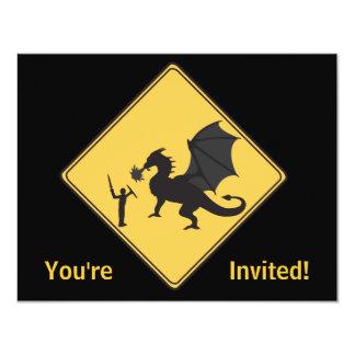 Road Sign- Knight & Dragon Invitation