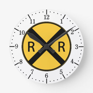 Road Sign Railroad Road Crossing Round Clock
