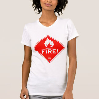 Road Sign Red Warning Sign Fire Hazard T-Shirt