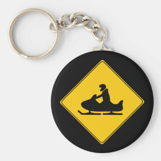 Road Sign- Snowmobile Keychain