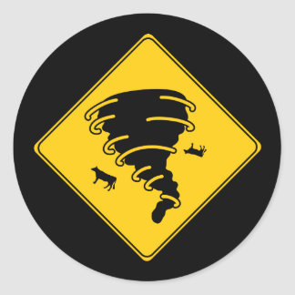 Road Sign- Tornado Round Sticker