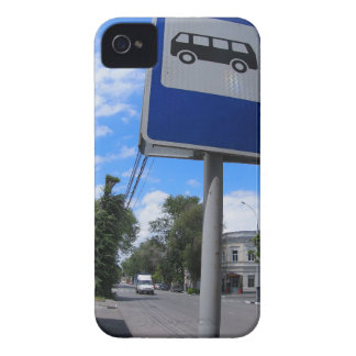 Road sign with a picture of a bus stop on a city s iPhone 4 covers