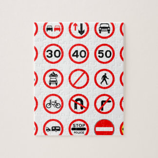 Road Signs - Red Round Jigsaw Puzzle