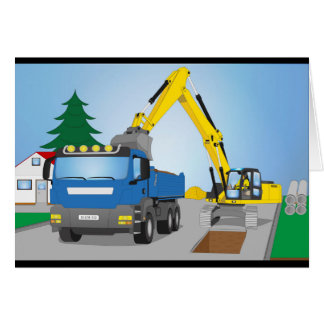 Road site with blue truck and yellow excavator card