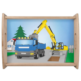 Road site with blue truck and yellow excavator serving tray