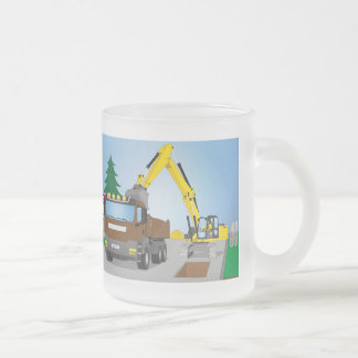 Road site with brown truck and yellow excavator frosted glass coffee mug