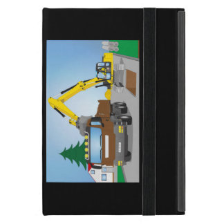 Road site with brown truck and yellow excavator iPad mini cover