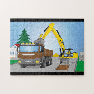 Road site with brown truck and yellow excavator jigsaw puzzle