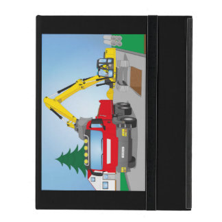Road site with red truck and yellow excavator covers for iPad