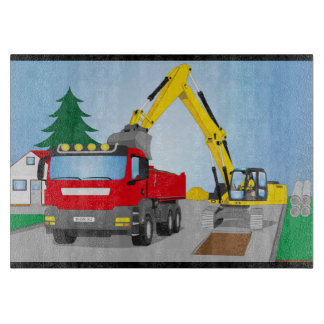 Road site with red truck and yellow excavator cutting board