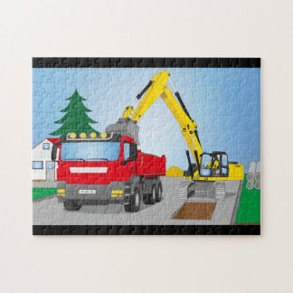 Road site with red truck and yellow excavator jigsaw puzzle