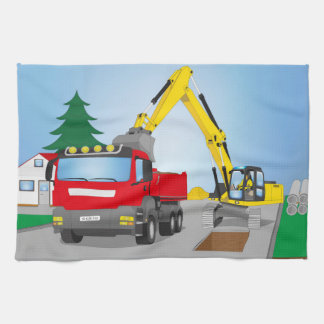 Road site with red truck and yellow excavator kitchen towel