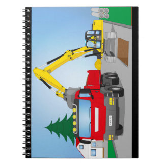 Road site with red truck and yellow excavator notebook