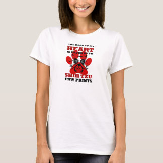 Road To Heart Is Paved With Shih Tzu Paw Prints T-Shirt