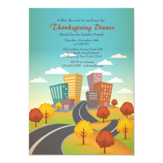 Road To The City Thanksgiving Invitation