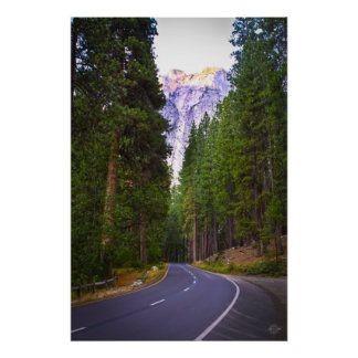 Road to Yosemite Mountains Poster
