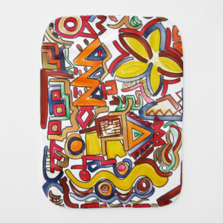 Road Trip - Abstract Art Handpainted Burp Cloth